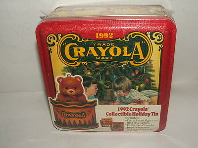 Qty 2 CRAYOLA 1992 Holiday Tin Christmas Edition w Ornament Mint Both Sealed