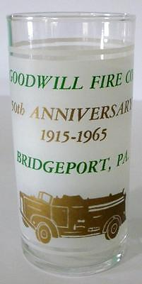 50th Anniversary Goodwill Fire Company Bridgeport PA. 1915-1965 Collector Glass