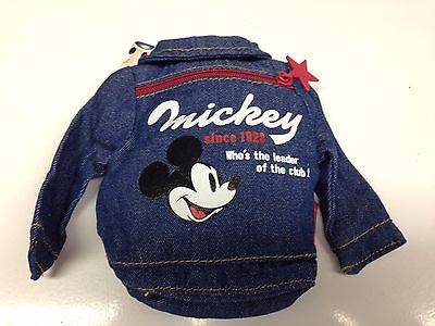 Disney Denim Jacket Shaped Mini Pouch Zipper Case / Mickey Mouse