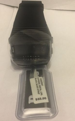 Roots Unisex Cypress Digital Display Quartz Black Watch, Large