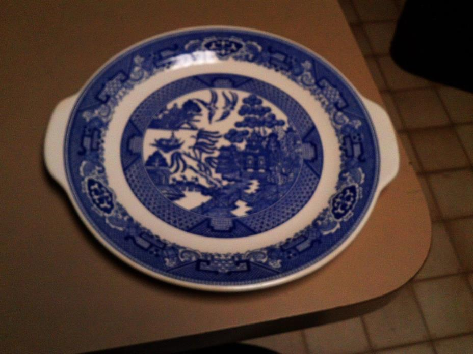 VINTAGE WILLOW WARE BY  ROYAL CHINA  FLOW BLUE PLATTER / CAKE PLATE HANDLED