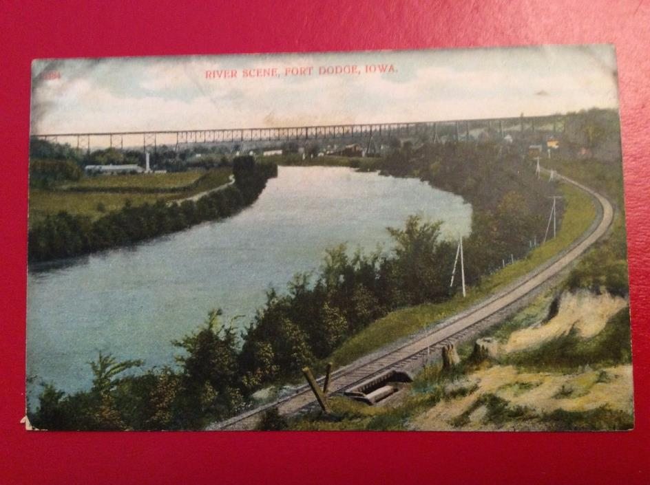 X12 1900's Dodge Iowa IA River Scene Bridge Railroad Track Train Town  Postcard