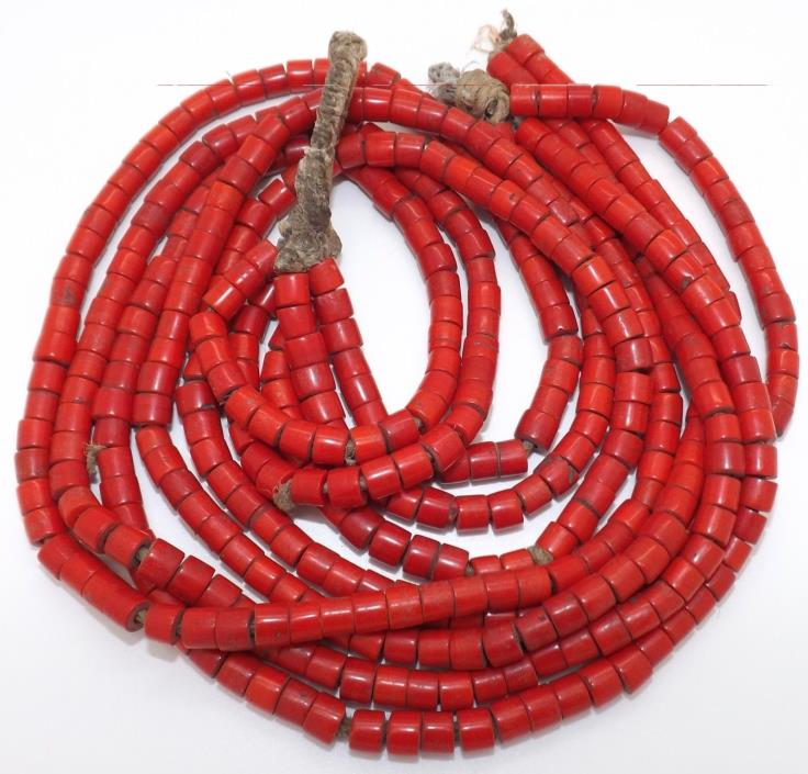 186.7 GRAM Natural CORAL BEAD BEADS NECKLACE African Trade Beads 21