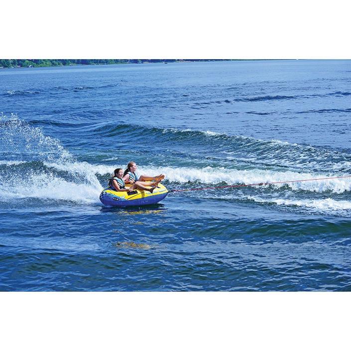 2-Rider Towable Inflatable Water Tube Equipment Safe Ski Cockpit Seats Sea Lake