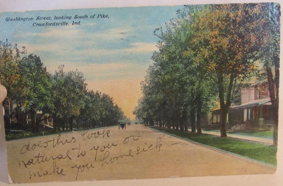 1907 or 08 Washington St., looking So. of Pike, CRAWFORDSVILLE, Ind. postcard