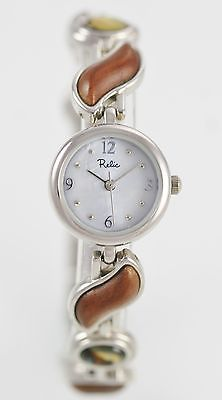 Relic Pearl Women's St Steel Silver Wood Stones Quartz Battery Watch