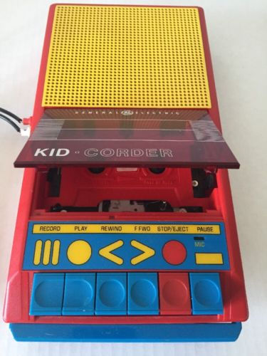 Vintage GE General Electric Kid Corder Cassette Tape Recorder and Player w/ Mic