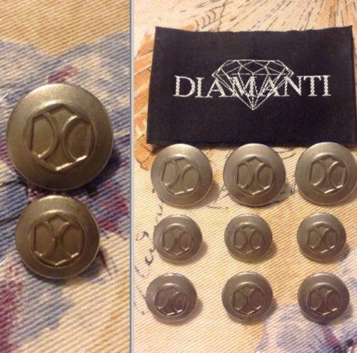 9 Diamanti Designer Silver Tone Metal Blazer Jacket Buttons Lot 1392