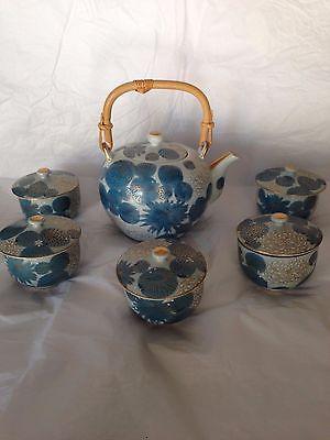 Kutani Porcelain TeaPot or Sake Kettle Blue Gold Chrysanthemum Japan 5 Cups Lids