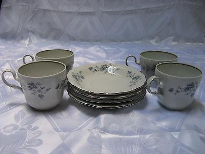 Johann Haviland Bavaria Germany Blue Garland 4 Tea / Coffee cups & 4 Saucers Set