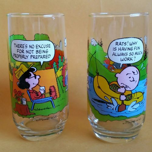 McDonald's Camp Snoopy Charlie Brown Lucy Collection Set Of 2 Glasses