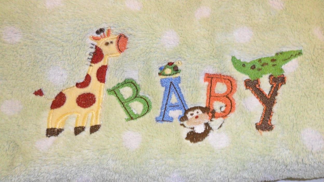 Garanimals Baby Blanket Green White Polka Dot Giraffe Monkey Alligator