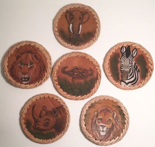 African Safari Animal Braided Leather Drink Coasters Lion Elephant Set of 6