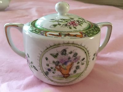 NIPPON HAND PAINTED SUGAR BOWL WITH LID