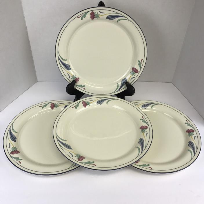 Lenox Poppies on Blue Dinner Plates 10 3/4