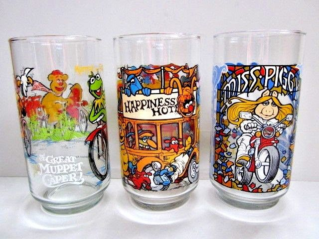 Lot of 3 1981 GREAT MUPPET CAPER MCDONALD'S GLASSES PRISTINE Miss Piggy Kemit
