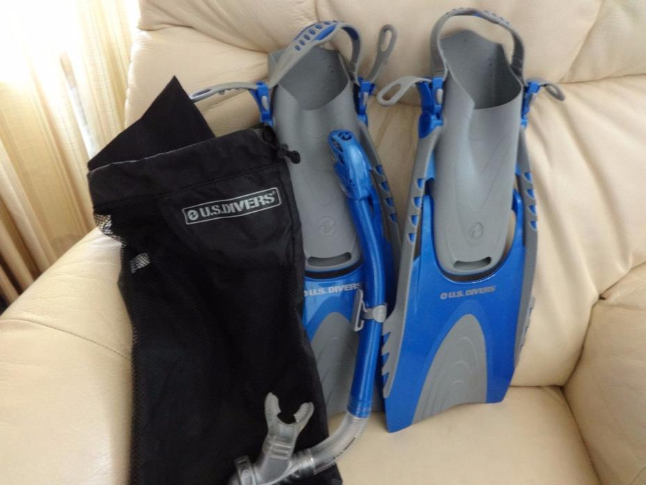 US Divers snorkel, fins, and bag  $23