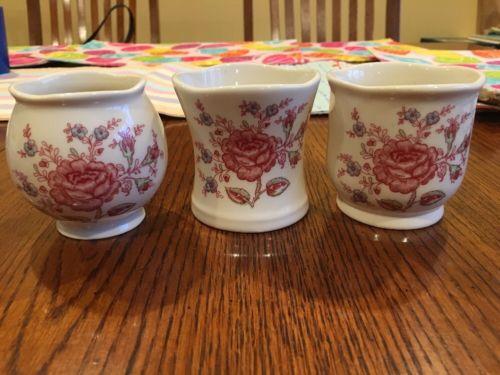 Set Of 3 Johnson Bros Rose Chintz Small Vases NWOT