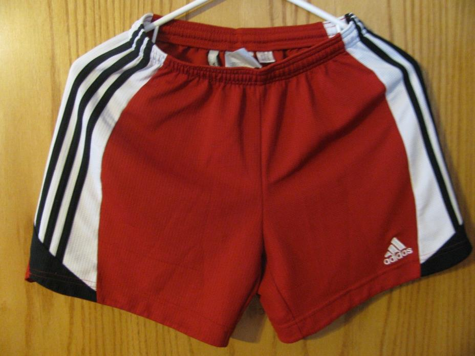 ADIDAS CLIMA 365 JUNIORS MESH ATHLETIC SHORTS SIZE S RED WHITE AND BLACK