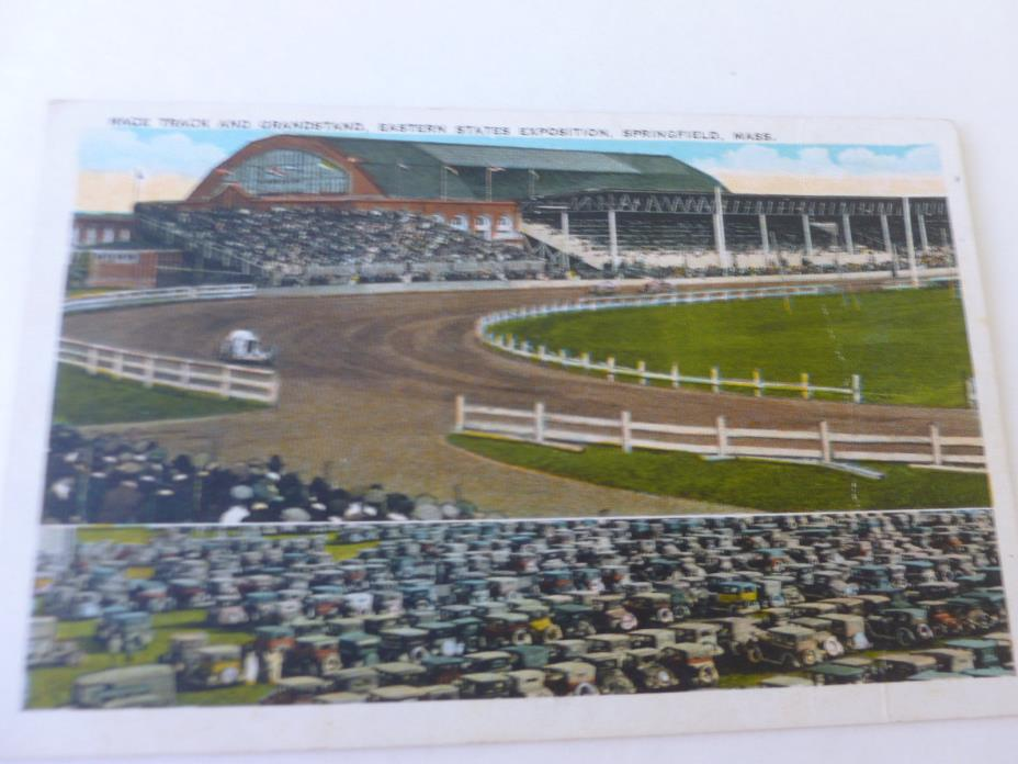 Dirt Track Car Race Track 1930's Eastern States Exposition Postcard (Unposted)