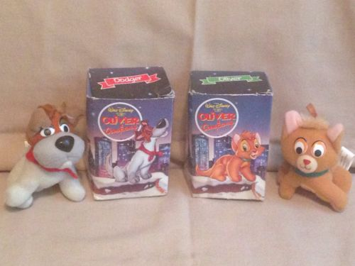 Oliver & Company Plush Christmas Ornaments McDonalds 1988 cat puppy dog-Disney