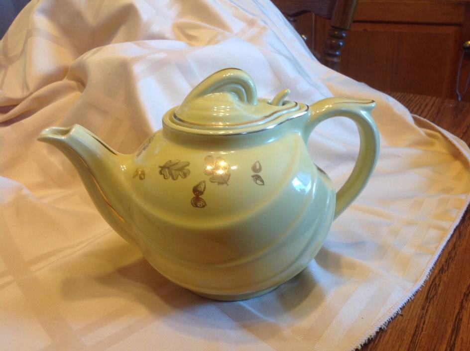 Hall 6 Cup Tea Pot yellow with gold trim, hook lid, stamped USA