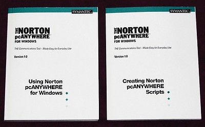 Two 1993 The Norton pcANYWHERE 1.0 for Microsoft Windows manuals - NO SOFTWARE