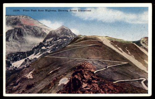 Pikes Peak Colorado Auto Highway vintage postcard mountain