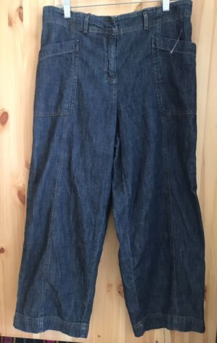 J. Jill Denim Women's Wide Leg Pants Boho Jeans Size 14 Denim 100% Cotton
