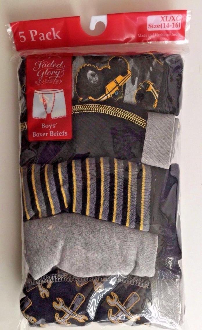 Boys' Faded Glory 5 pk  Boxer Briefs 100% Cotton Size XL (14-16) NIP