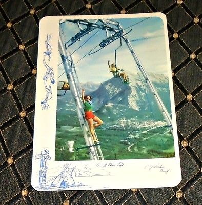 Cool 1956 Banff National Park Chair Lift w/ Young Women Vintage Postcard