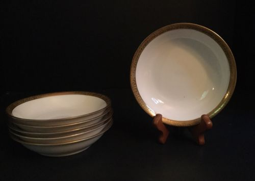 6 Hutschenreuther Selb Berry Bowls LHS Bavaria Gold Band Trim China Cereal