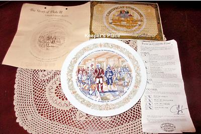 Vintage D'Arceau Limoges CITY TAVERN MEETING Plate #3 In Lafayette Legacy Series