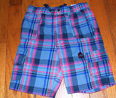 Arizona jeans co  Boys Plaid Cargo Shorts Coral and Navy Blue  NWT $26