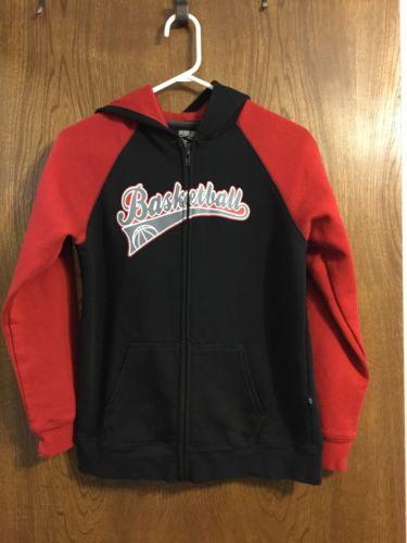 Boys BASKETBALL Full Zip Red Black Sweatshirt Hoodie - SIZE Large 14/16