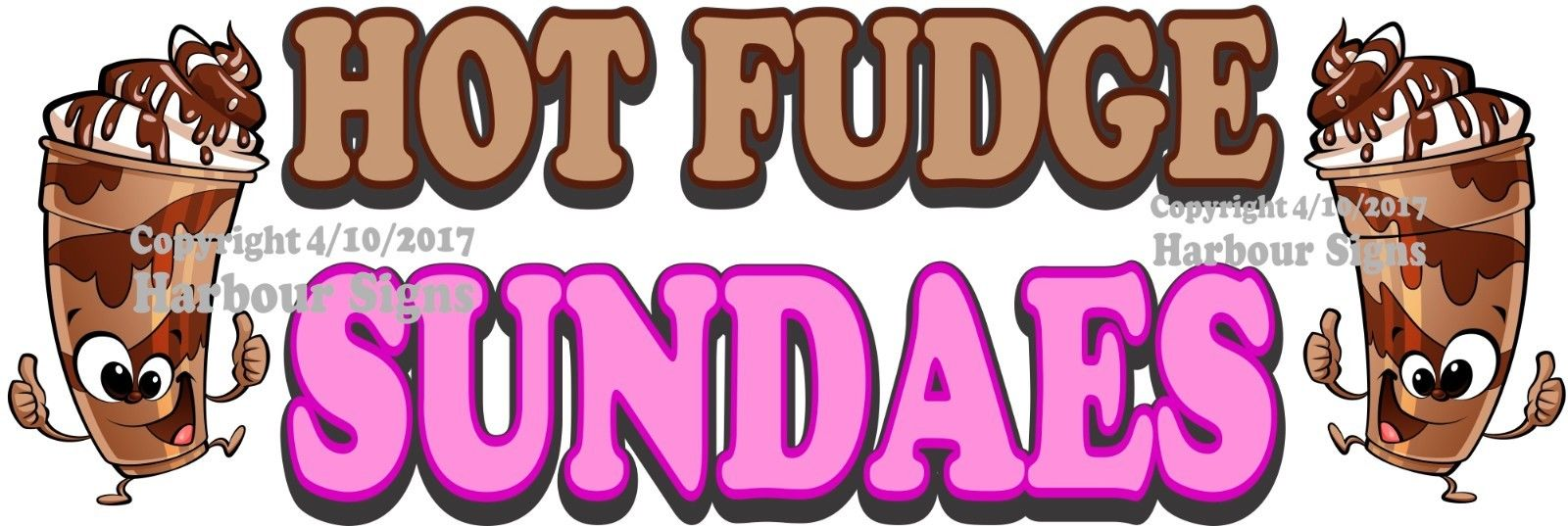 (Choose Your Size) Hot Fudge Sundaes DECAL Ice Cream Food Truck Concession