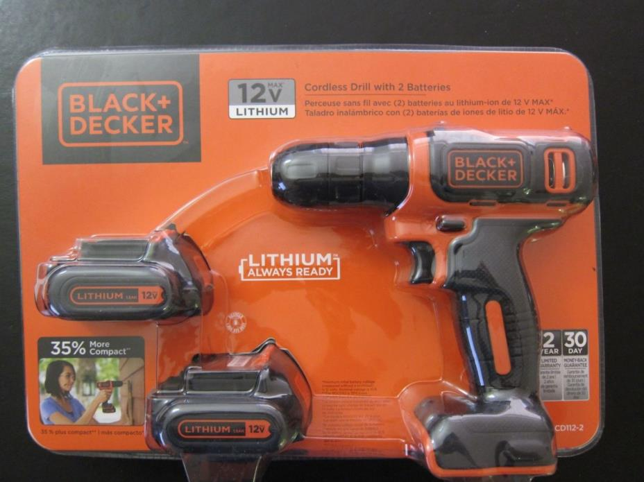 Brand New BLACK & DECKER Cordless Drill BDCD112 with 2 Batteries and Charger