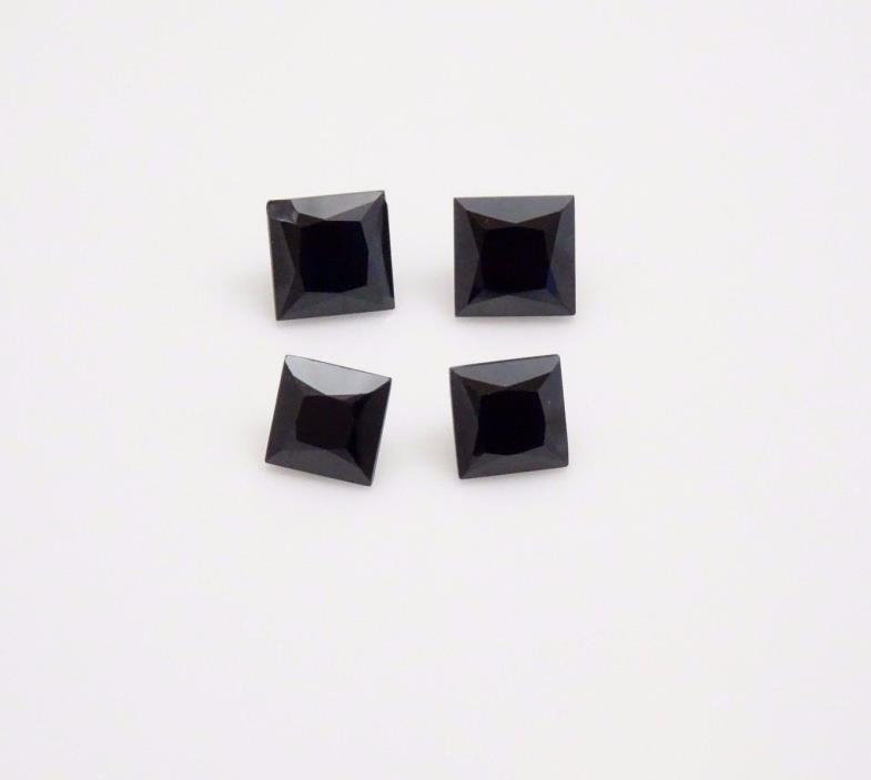 (x4) Black Spinel -Square- Loose Gemstones - Black Spinel Parcel