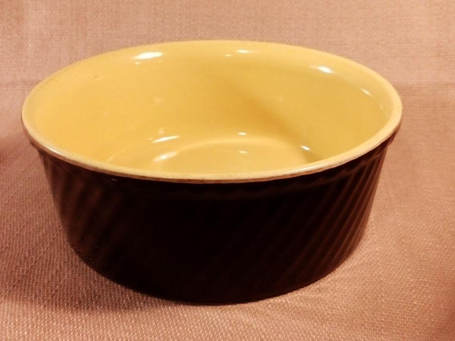 Hall Pottery #503 Round Casserole Dish - Brown & Yellow