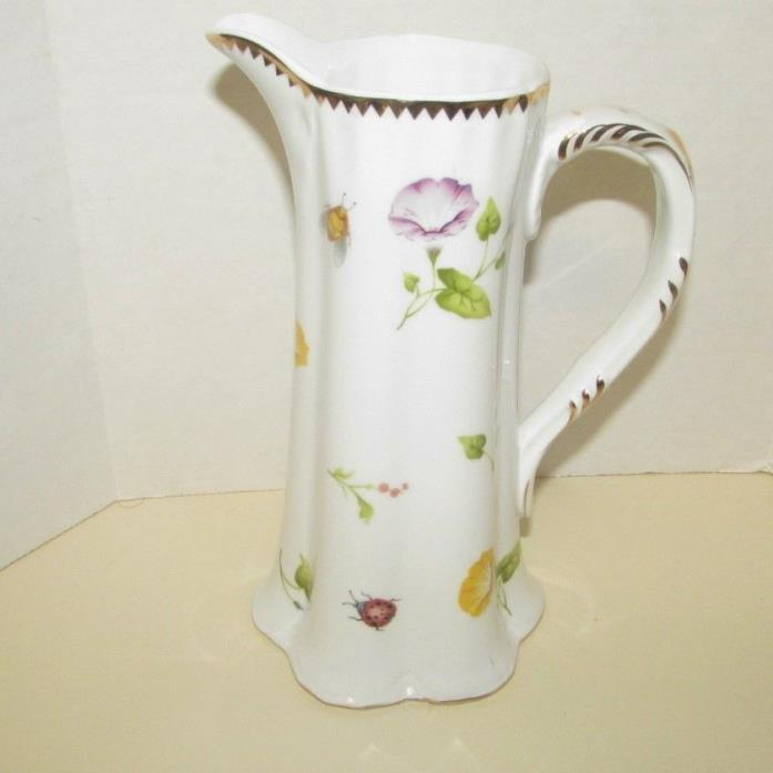 Godinger Morning Glory 36oz Juice Milk Pitcher Flowers Butterflies Insects