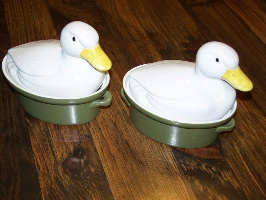 Set of (2) Vintage Hall Carbone Porcelain White Duck Green Casseroles Dishes