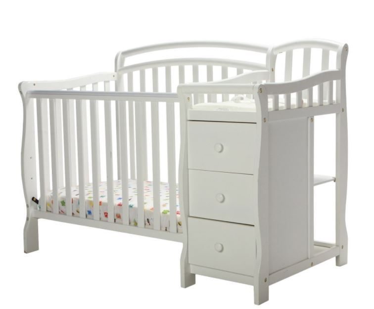 Baby Cribs With Changing Table White Mini Crib Dressing Nursery Infant Toddler