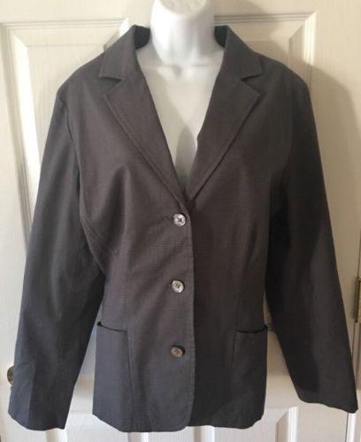 Womens black gray pattern EDDIE BAUER blazer jacket cotton career XL 16