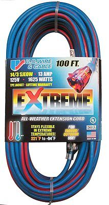 U.S. Wire 14/3 100' Cold Weather Extension Cord Blue with Lighted Plug