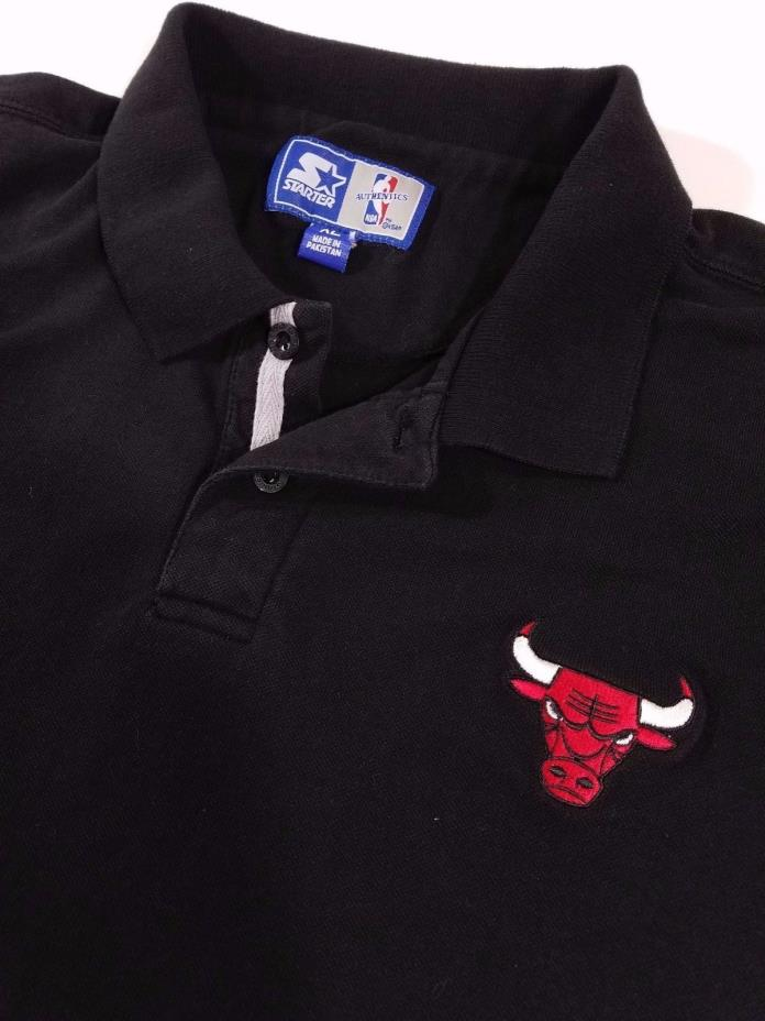 Vintage Chicago Bulls Black Starter Polo Golf Shirt Size XL Men's