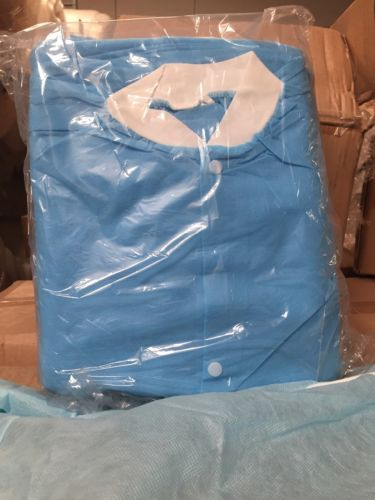 Lot Of 20 Boxes Of PPE Lab Coats Apparel Size M Blue Color