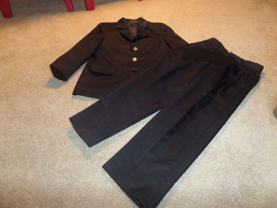 Boys Black Stanley Blacker Polyester Suit Size 6 Pleated Pants/Elastic Back
