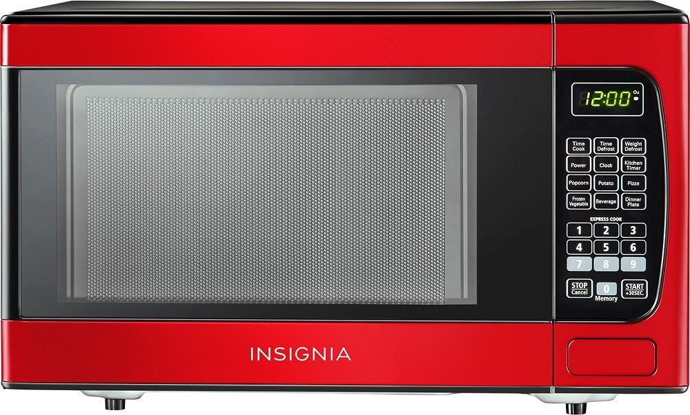 Insignia Compact Microwave Kitchen Home Appliance LED Display 0.9 Cu. Ft.  Red