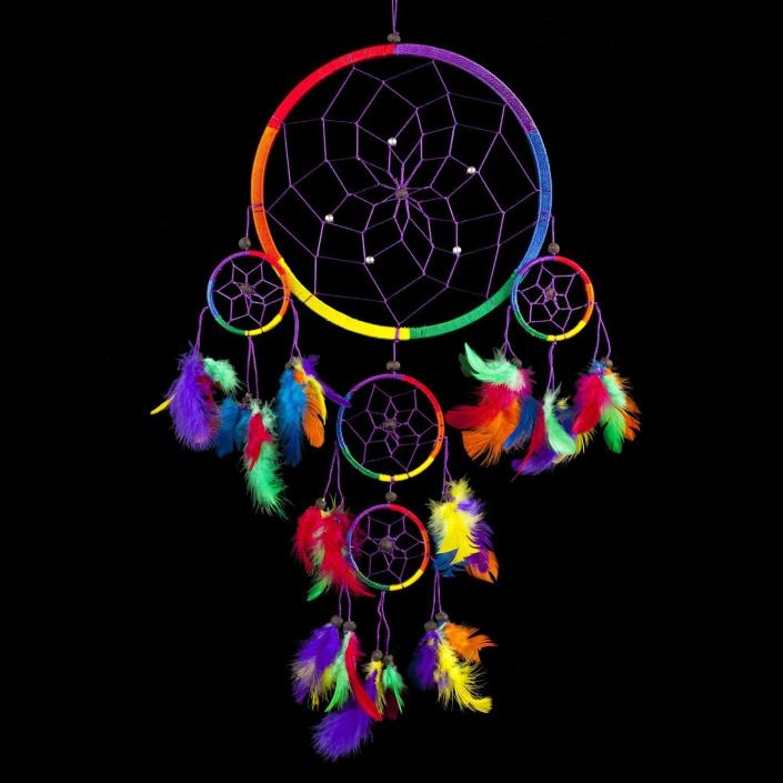 Handmade Dream Catcher Traditional Rainbow w/ Feathers 8.5