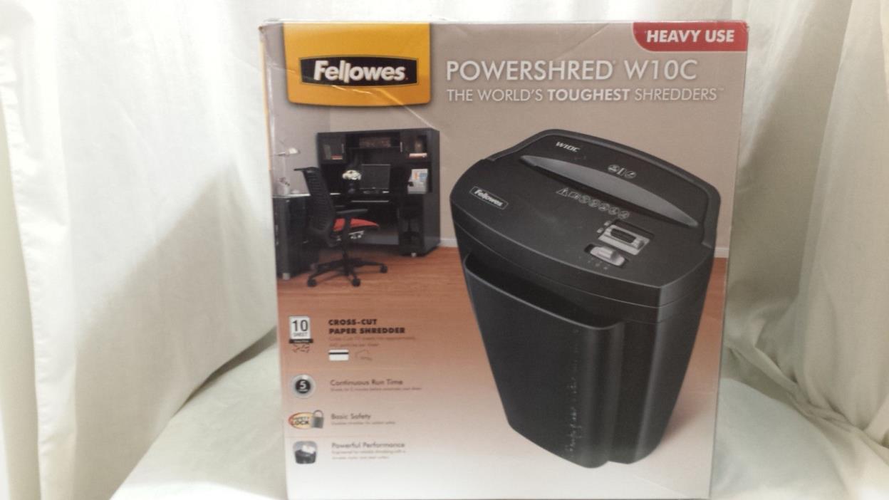 Fellowes Powershred W10C Cross-Cut Paper Shredder Heavy Use CRC34373 10 Sheet